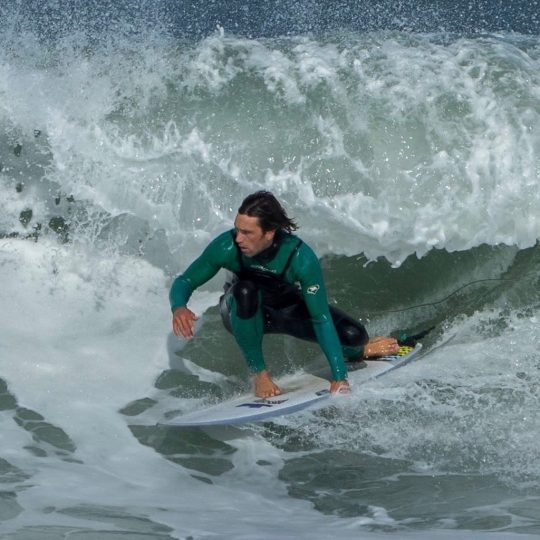 Owner/Coach Robin Surfing at Widemouth Bay